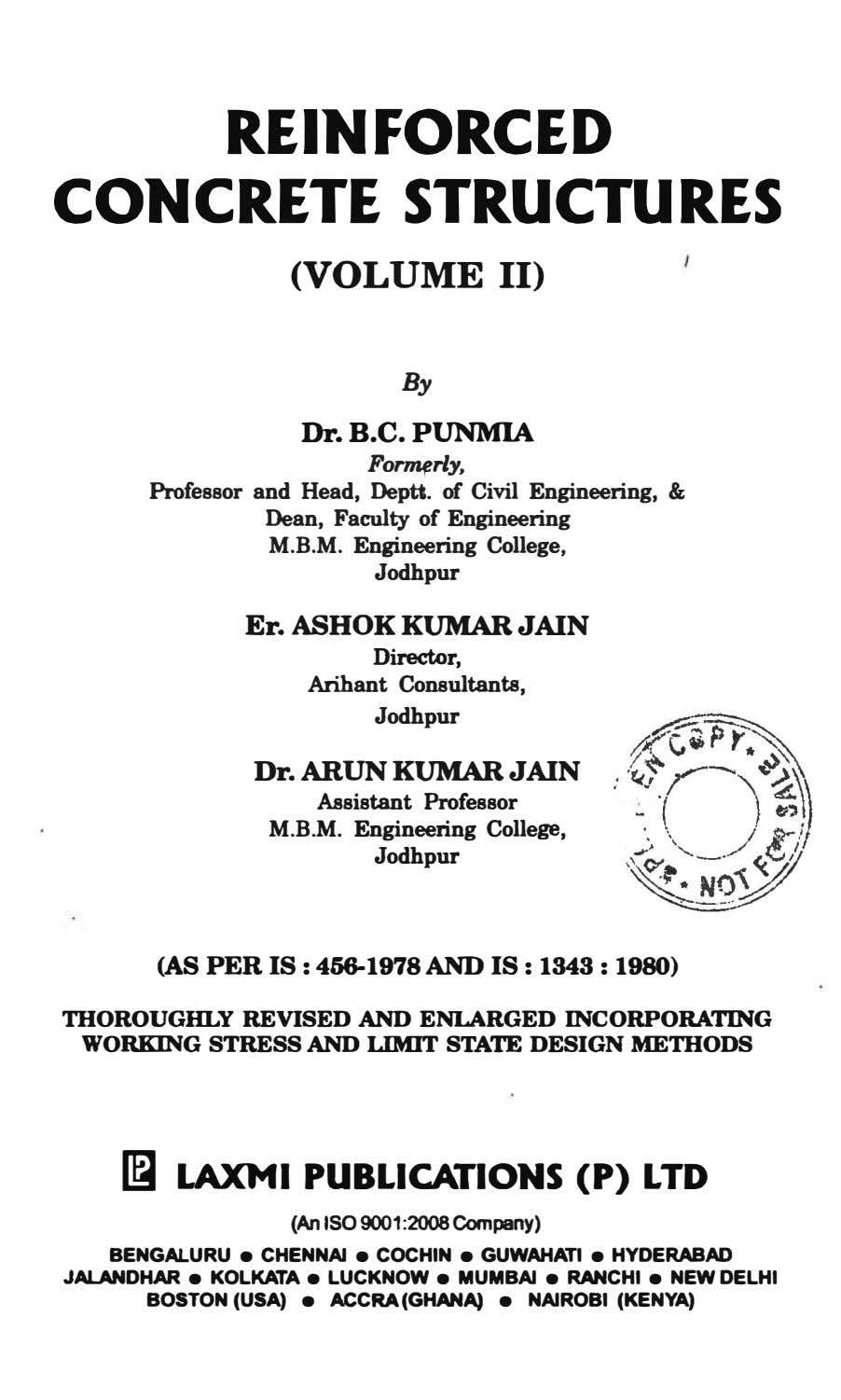 REINFORCED CONCRETE STRUCTURES (VOLUME II) By Dr. B.C. PUNMIA For1111rly, Professor and Head, Deptt. of