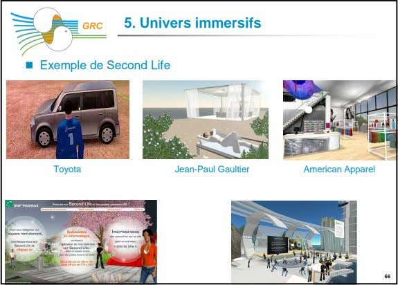 5. Univers immersifs GRC Exemple de Second Life Toyota Jean-Paul Gaultier American Apparel 66