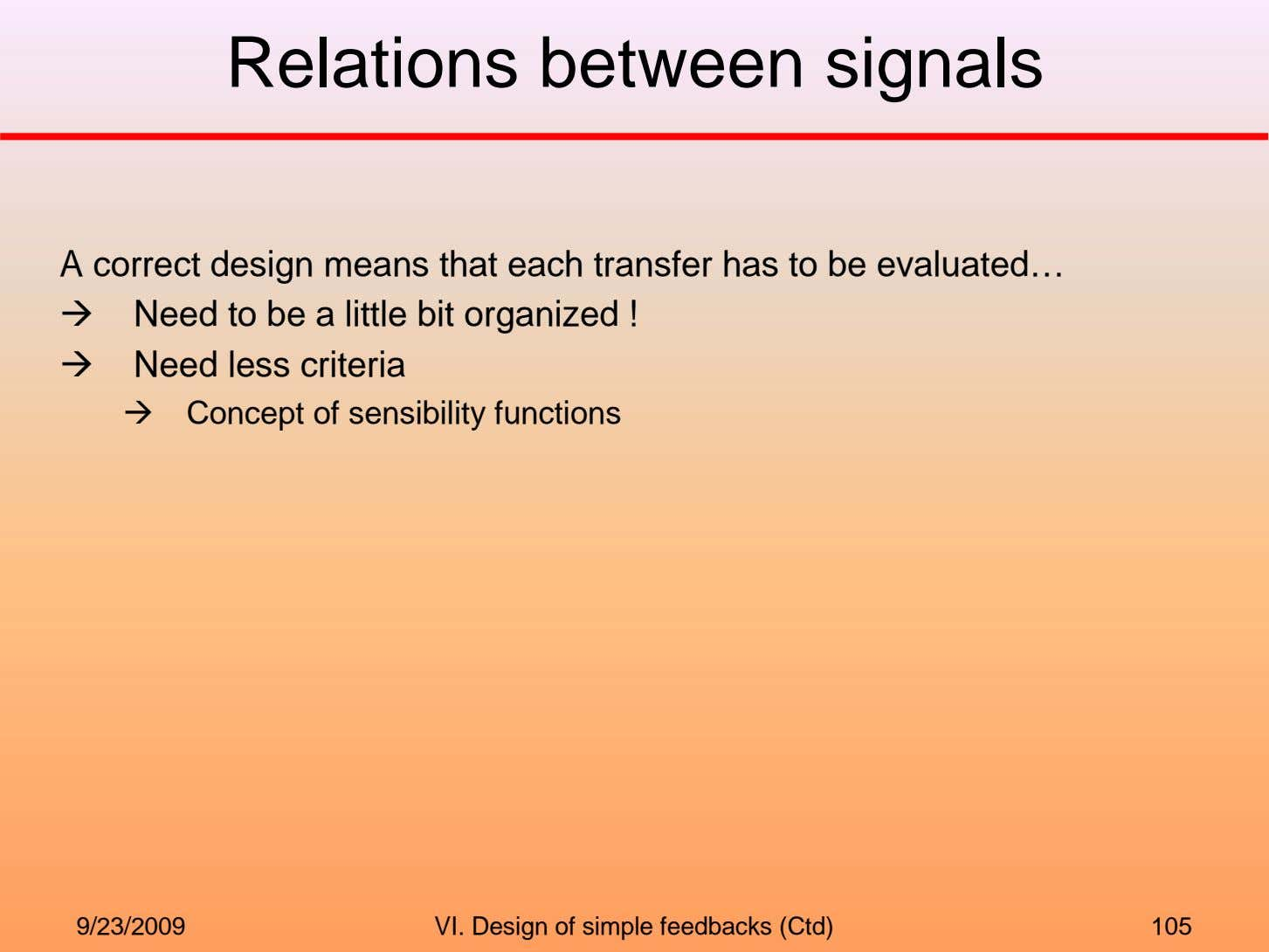 Relations between signals A correct design means that each transfer has to be evaluated… Need