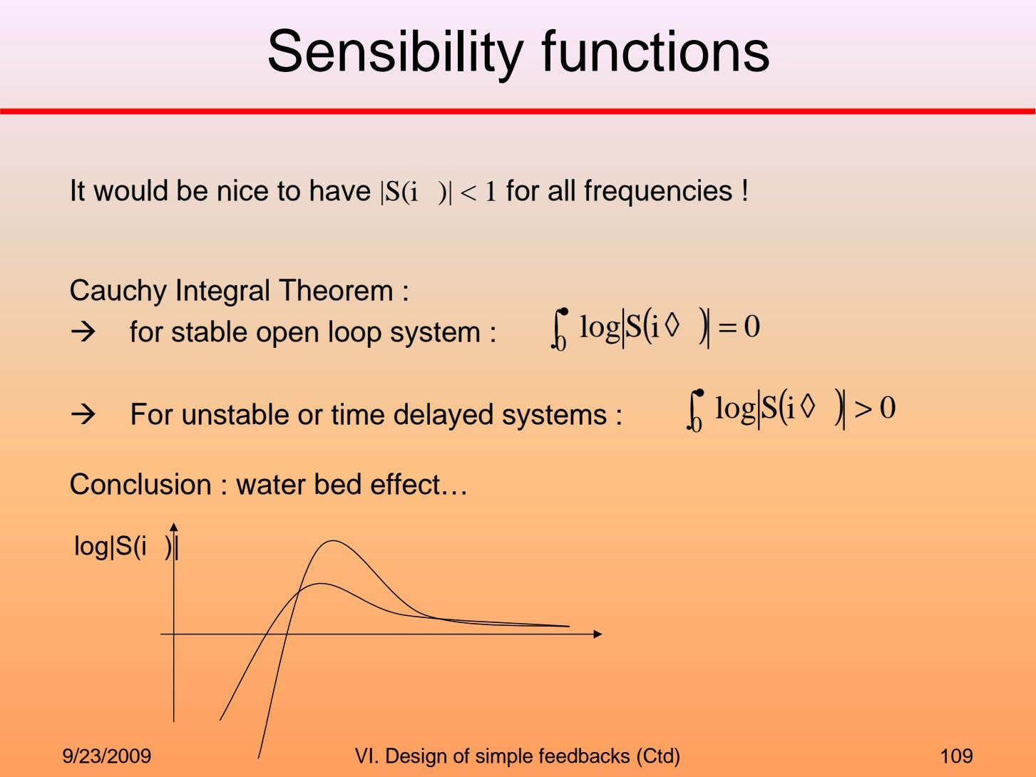 Sensibility functions It would be nice to have |S(i )| < 1 for all frequencies