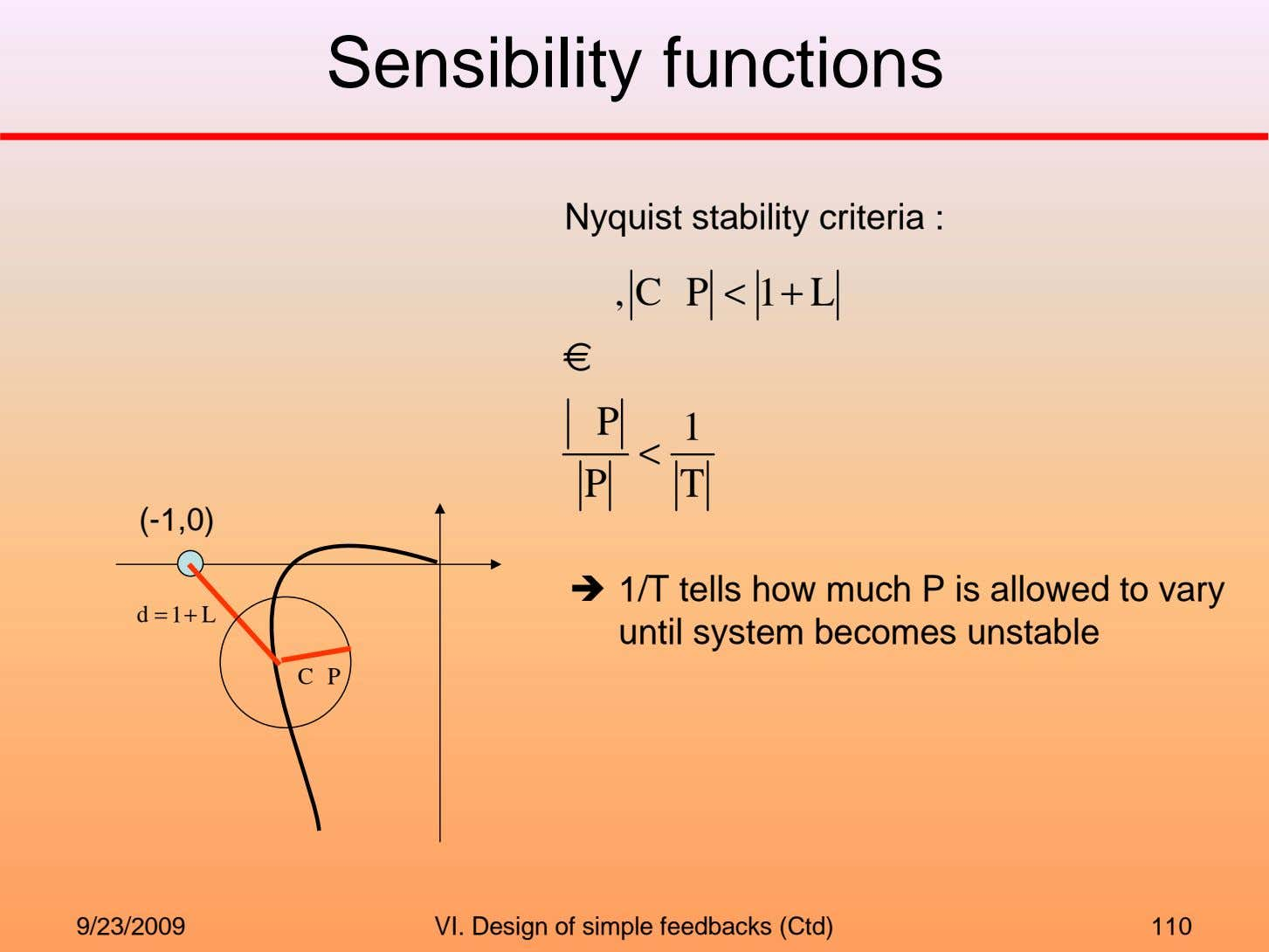 Sensibility functions Nyquist stability criteria : , C P < 1 + L € P