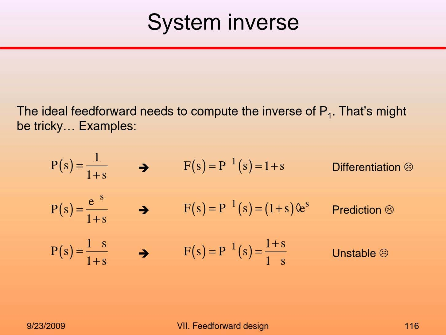 System inverse The ideal feedforward needs to compute the inverse of P 1 . That's