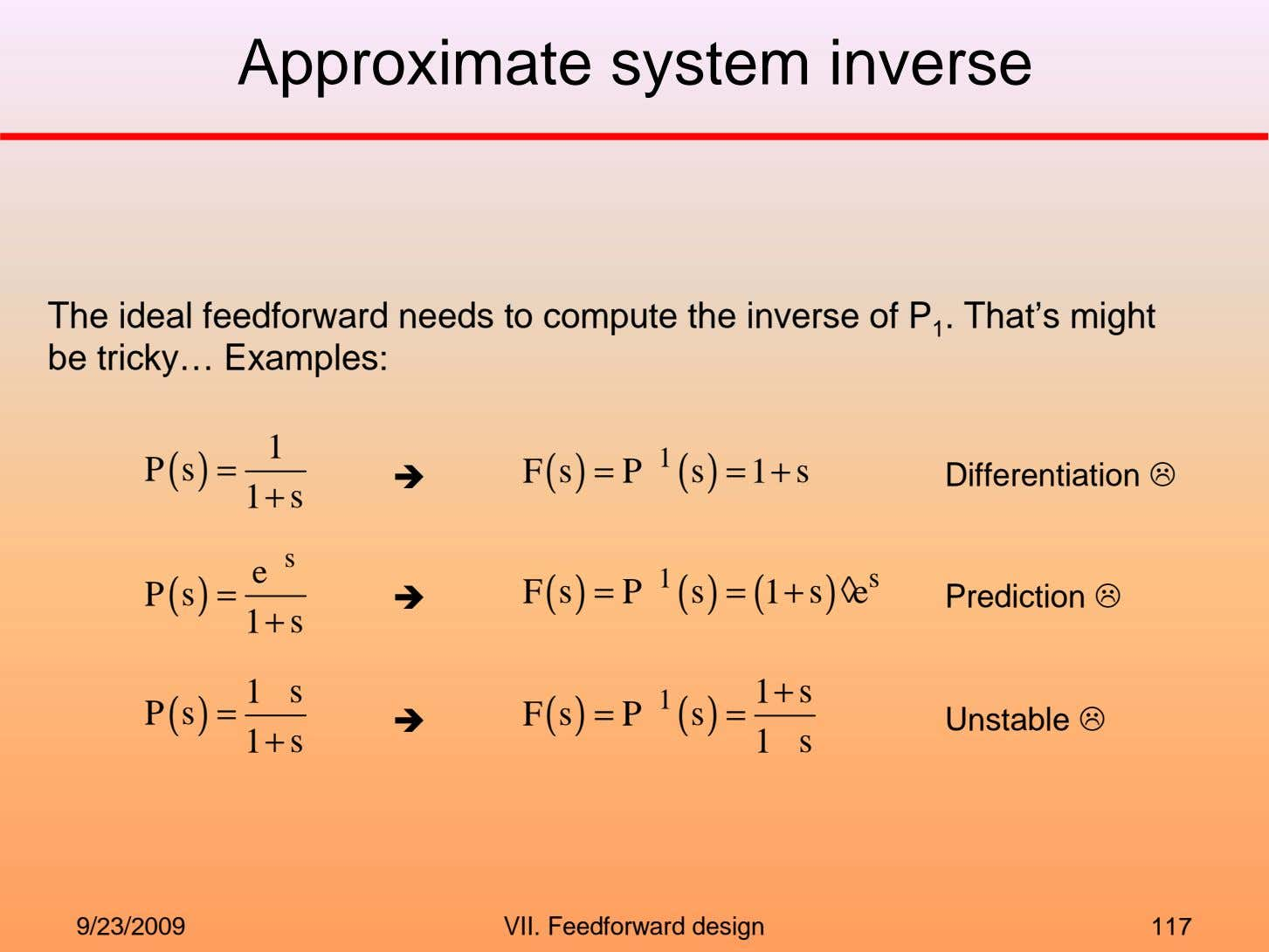 Approximate system inverse The ideal feedforward needs to compute the inverse of P 1 .