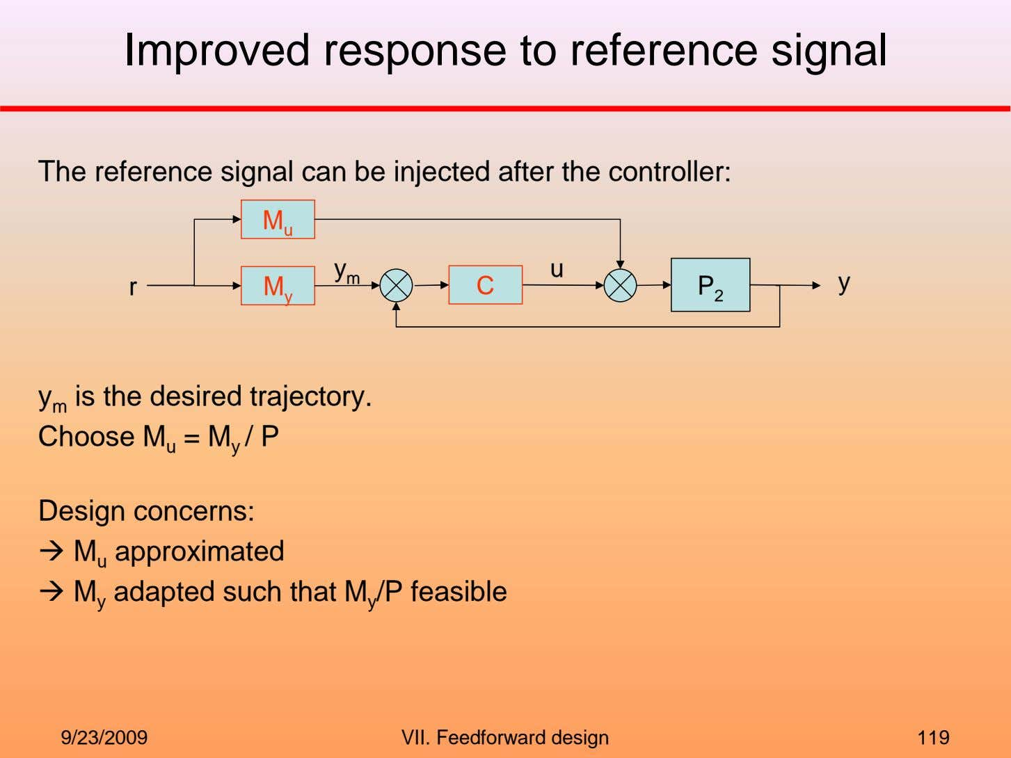 Improved response to reference signal The reference signal can be injected after the controller: M