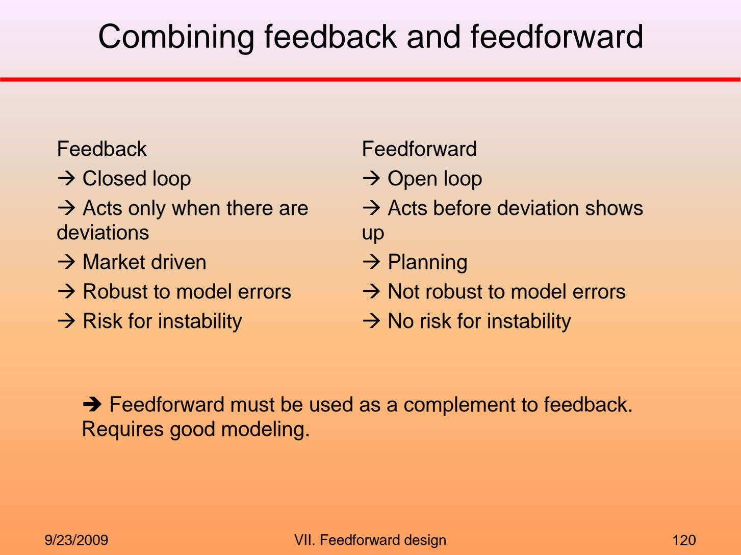Combining feedback and feedforward Feedback Closed loop Acts only when there are deviations Market driven