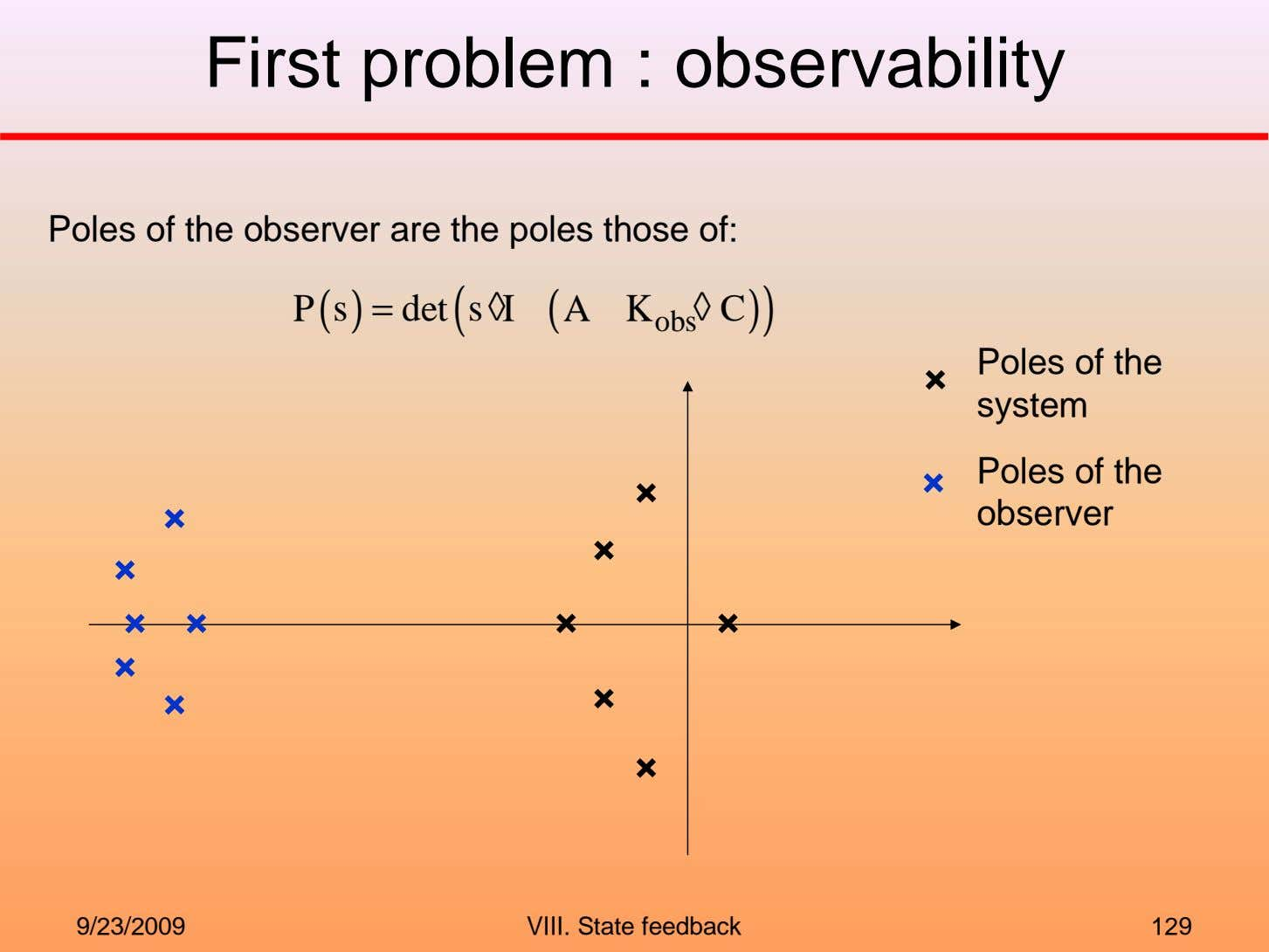 First problem : observability Poles of the observer are the poles those of: P (