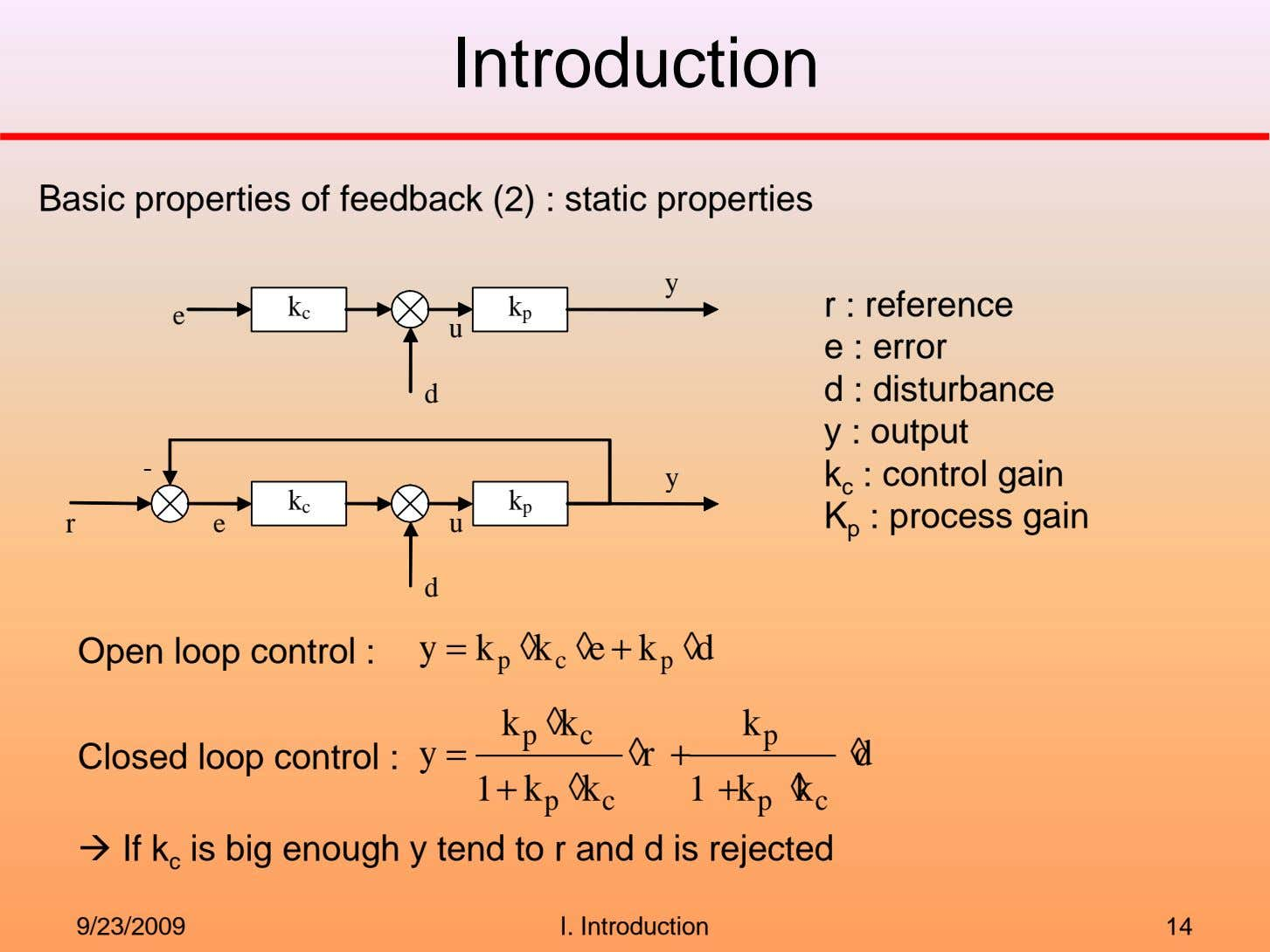 Introduction Basic properties of feedback (2) : static properties y k k r : reference