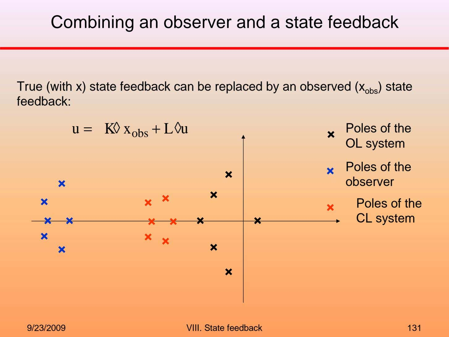 Combining an observer and a state feedback True (with x) state feedback can be replaced