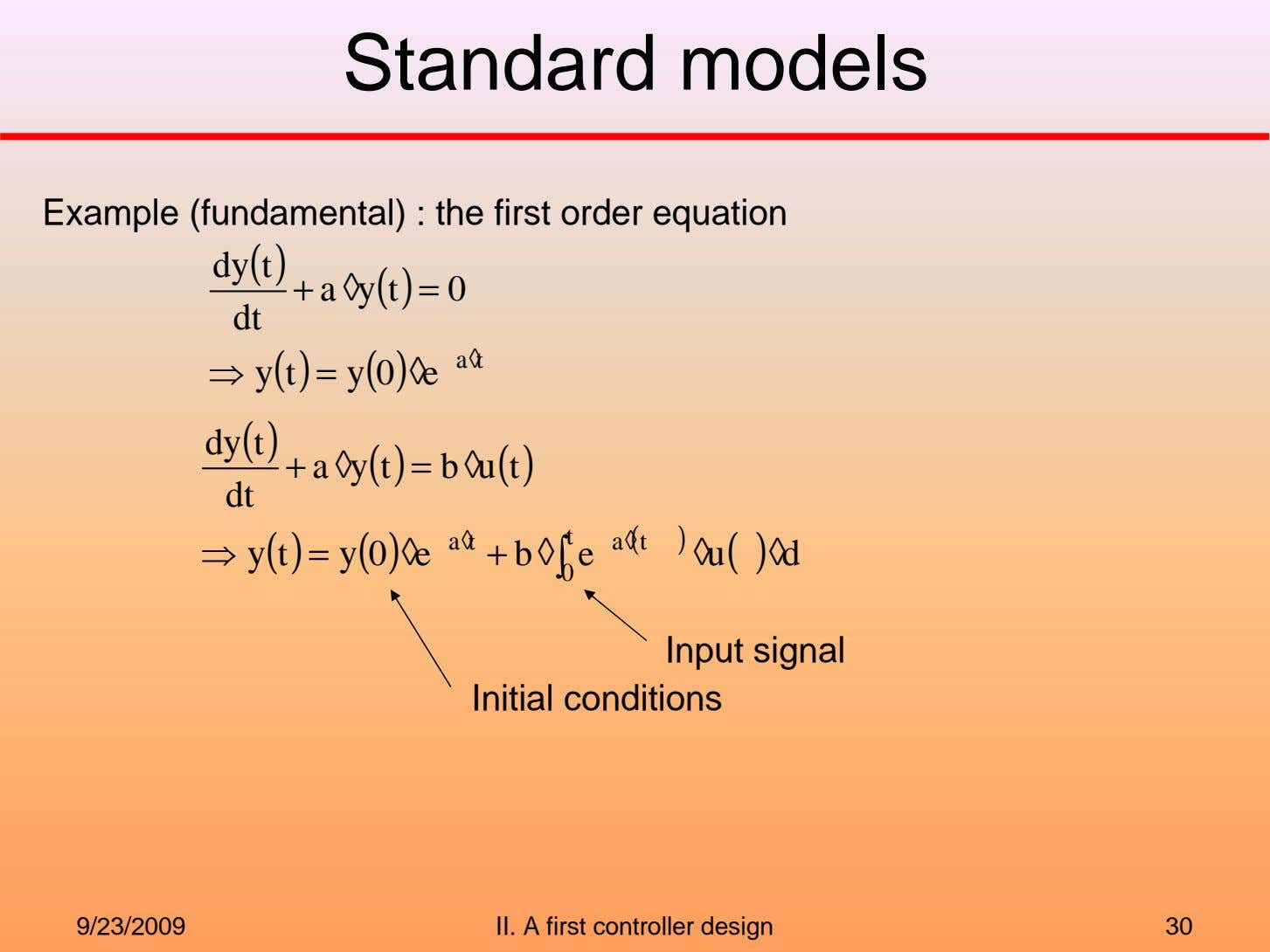 Standard models Example (fundamental) : the first order equation dy t ( ) + a