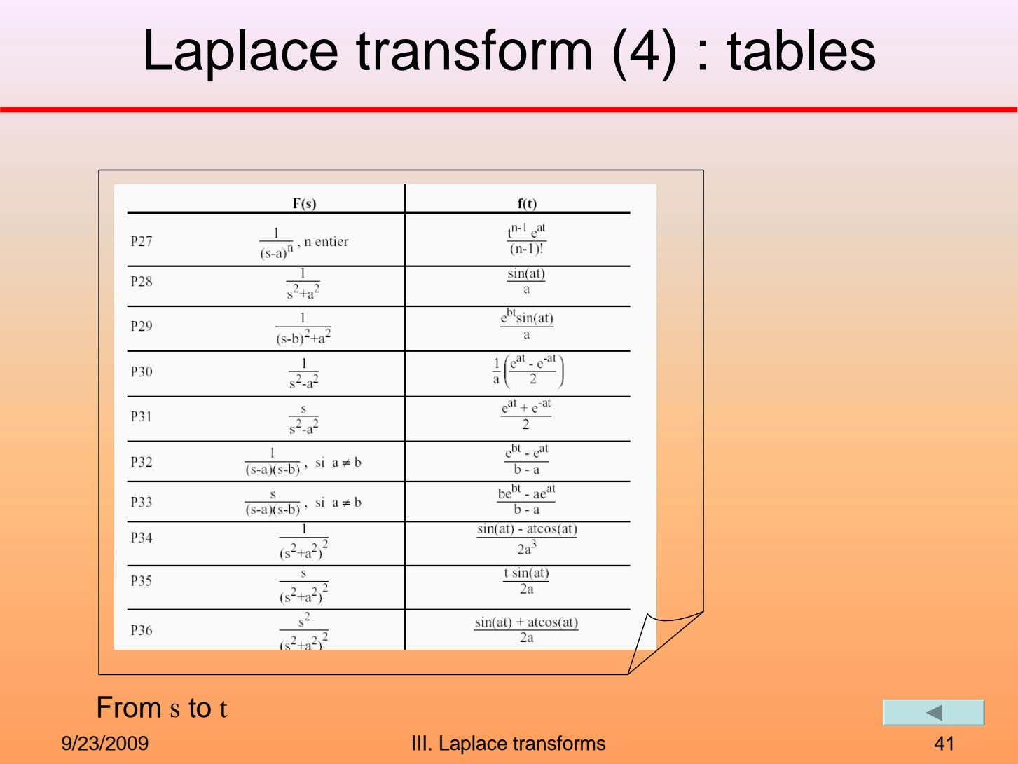 Laplace transform (4) : tables From s to t 9/23/2009 III. Laplace transforms 41