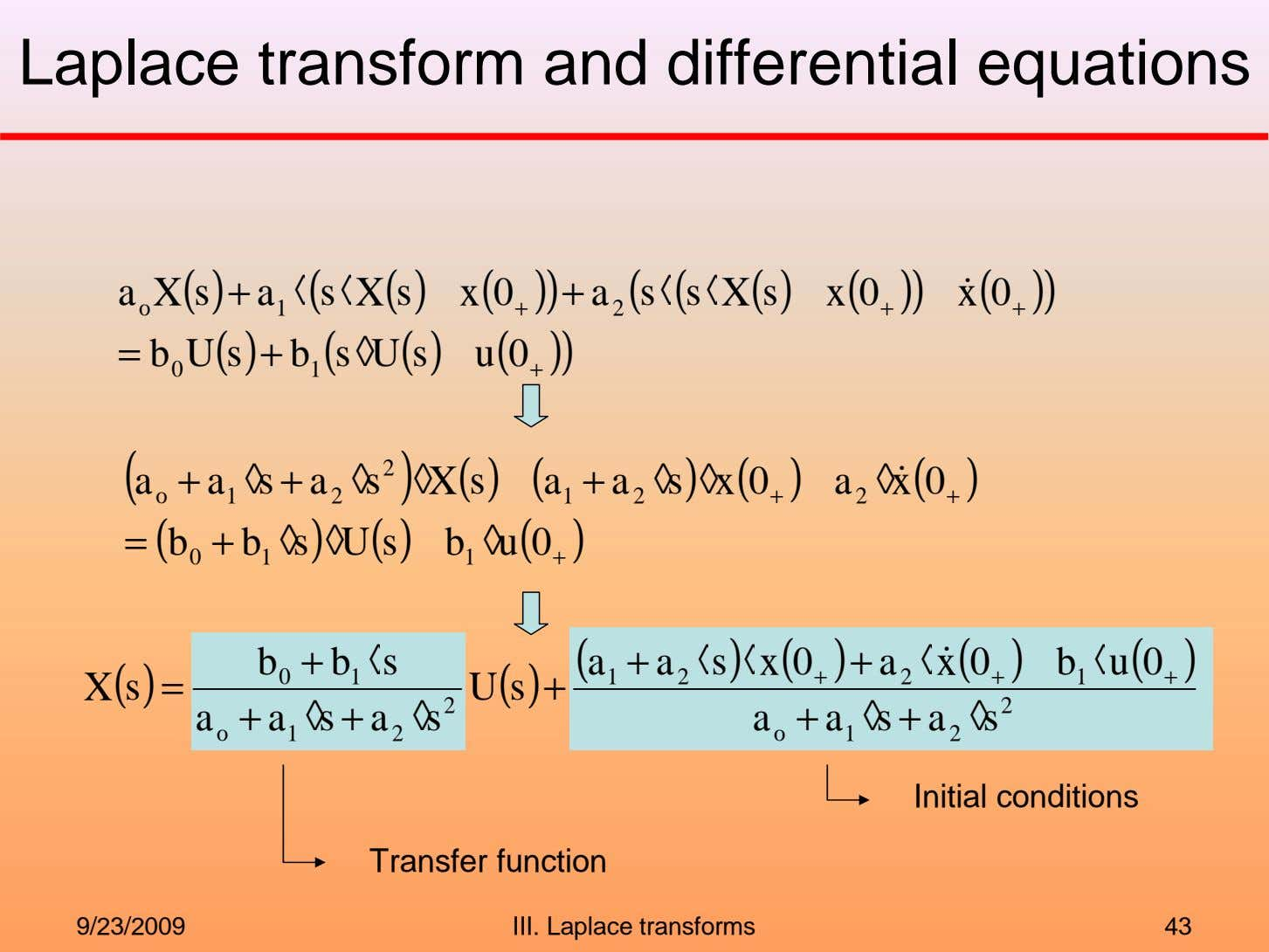 Laplace transform and differential equations a X s ( ) + a ◊ ( s