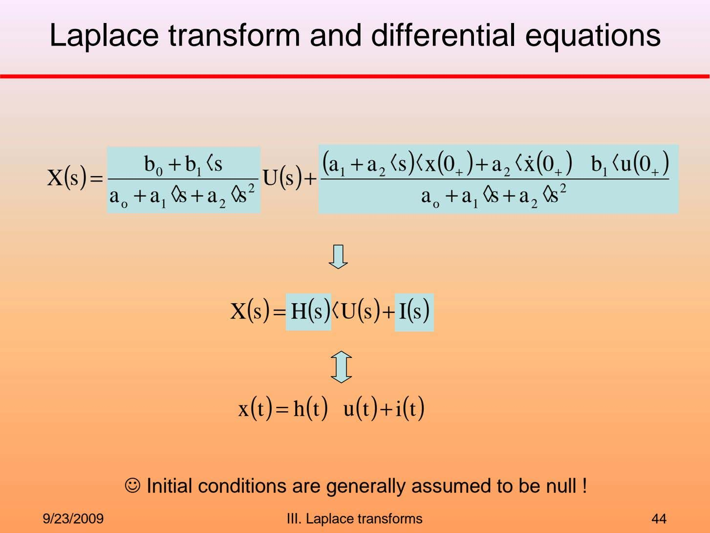 Laplace transform and differential equations b + b ◊ s ( a + a ◊
