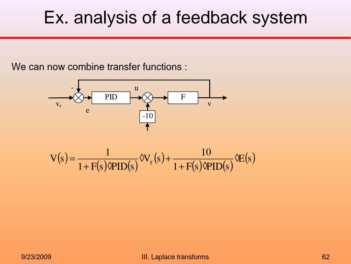 Ex. analysis of a feedback system We can now combine transfer functions : - u