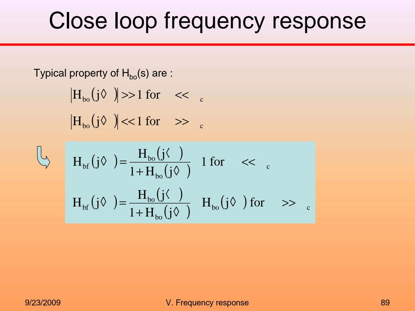 Close loop frequency response Typical property of H bo (s) are : H ( j
