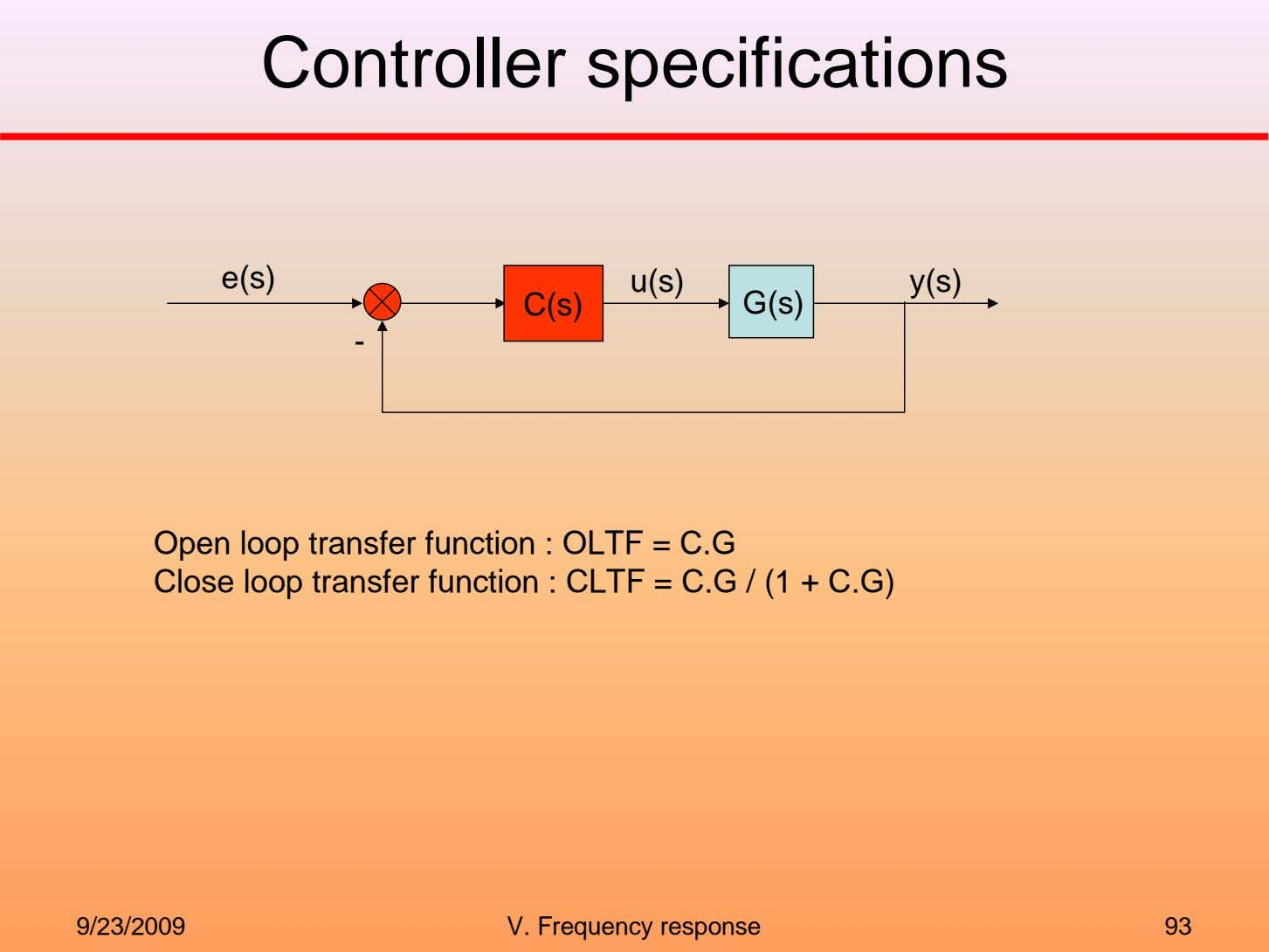 Controller specifications e(s) u(s) y(s) C(s) G(s) - Open loop transfer function : OLTF =