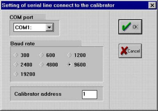information about the calibrator communication parameters. Figure 3 COM port : calibrator. In this connector will