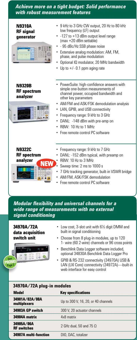 Achieve more on a tight budget: Solid performance with robust measurement features N9310A • 9