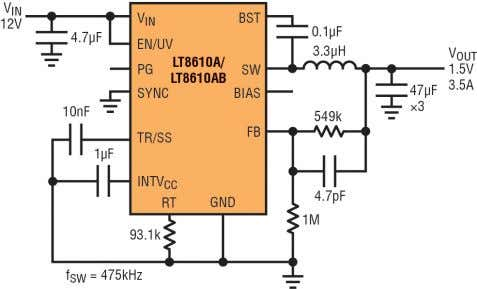 a circuit around them is straightforward as no addi- Figure 2 . This step-down converter circuit