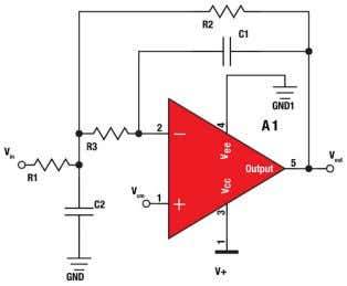 capaci - tance and the input capacitance of the amplifier. Figure 1 . MFB second-order single-