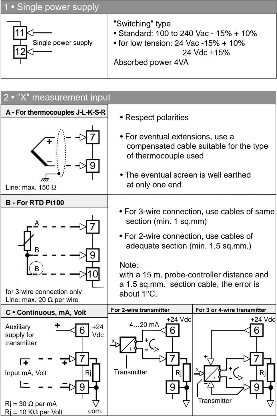 "Schema di collegamento 1 • Single power supply ""Switching"" type 11 • Standard: 100 to"