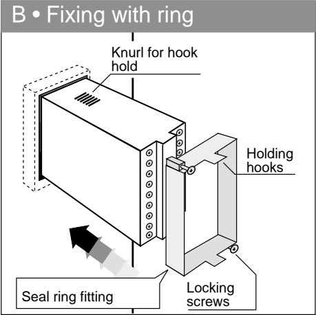 B • Fixing with ring Knurl for hook hold Holding hooks Locking Seal ring fitting