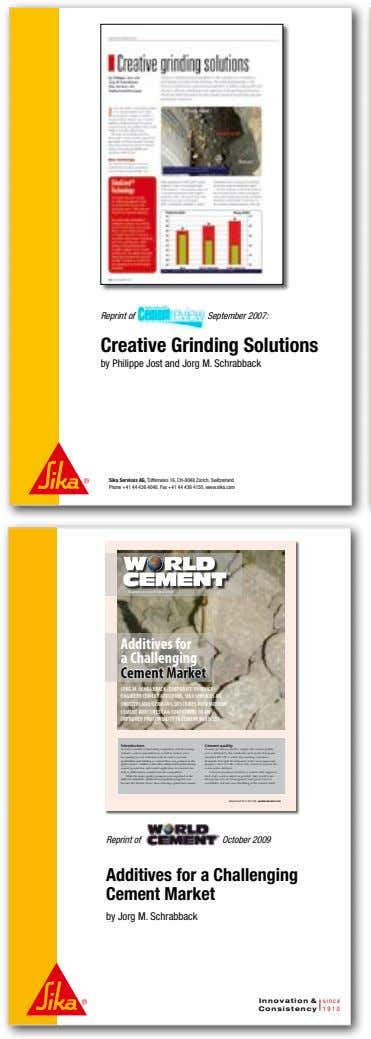 Reprint of September 2007: Creative Grinding Solutions by Philippe Jost and Jorg M. Schrabback Sika