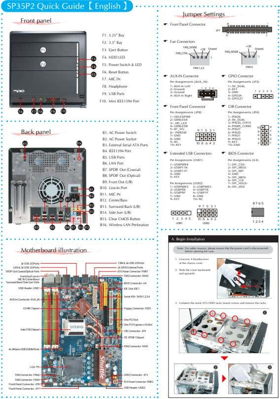 SP35P2 Quick Guide【 English 】 Jumper Settings Front panel E Front Panel Connector JP7 F1.