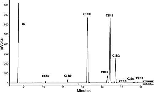 results show that the amount of product corresponds to the Fig. 2. Gas chromatogram of fatty