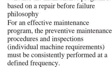 procedures and inspections (individual machine requirements) must be consistently performed at a defined frequency.