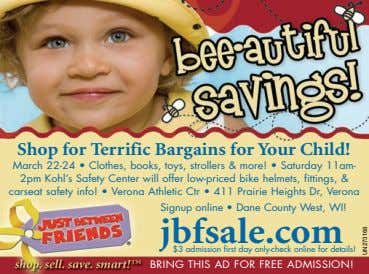 Shop for Terrific Bargains for Your Child! March 22-24 • Clothes, books, toys, strollers &