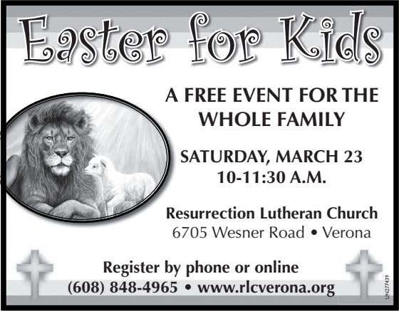 Easter for Kids A A FREE EVENT FOR THE WHOLE FAMILY SATURDAY, MARCH 23 10-11:30