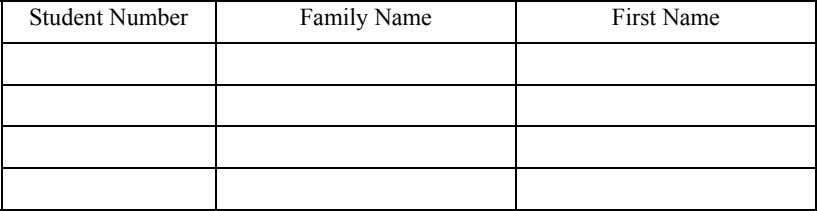 Student Number Family Name First Name
