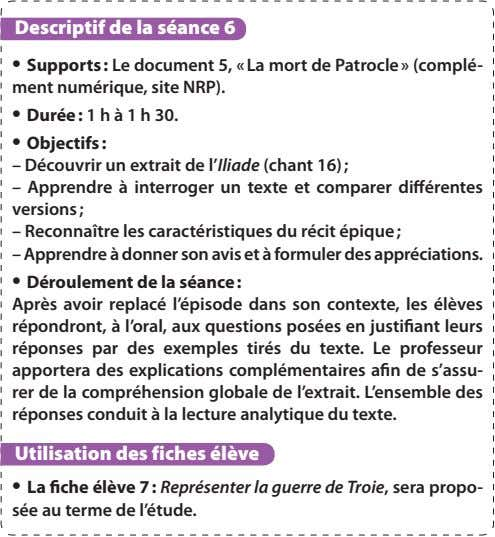 Descriptif de la séance 6 • Supports : Le document 5, « La mort de