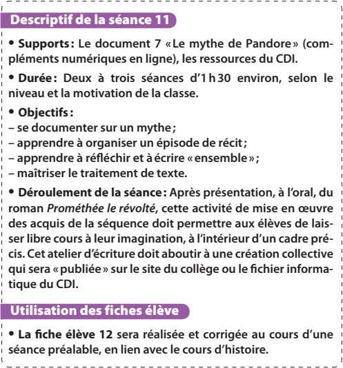 Descriptif de la séance 11 • Supports : Le document 7 « Le mythe de