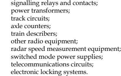signalling relays and contacts; power transformers; track circuits; axle counters; train describers; other radio