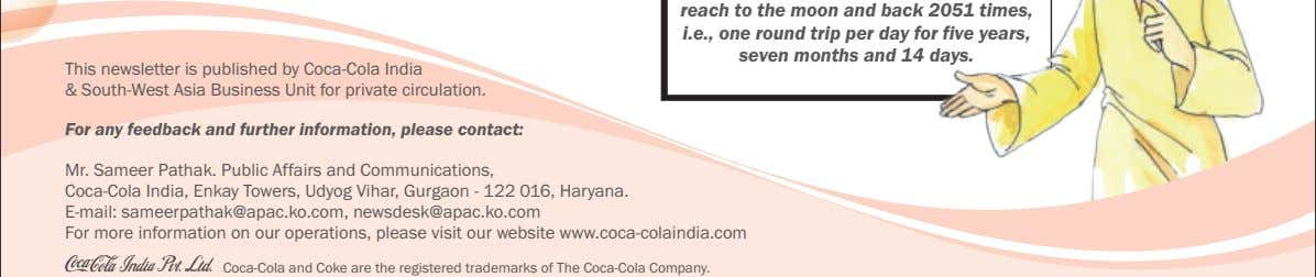 This newsletter is published by Coca-Cola India & South-West Asia Business Unit for private circulation.