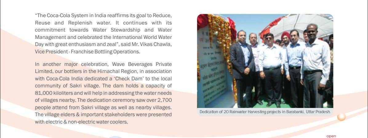 "of water bodies, drip irrigation, laser leveling, etc. ""The Coca-Cola System in India reaffirms its goal"