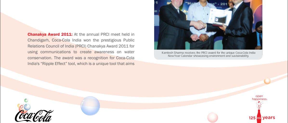 Chanakya Award 2011: At the annual PRCI meet held in Chandigarh, Coca-Cola India won the