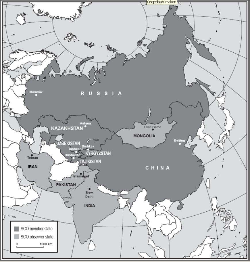 Map 2: Member and observer stat es of the Shanghai Cooperation Organisation Source : A.