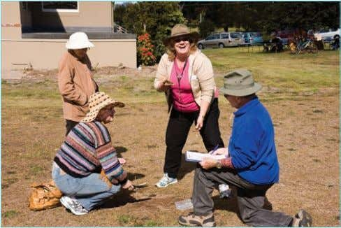 field work for her accredited Permaculture training course. Documenting site conditions. Kogarah Council staff