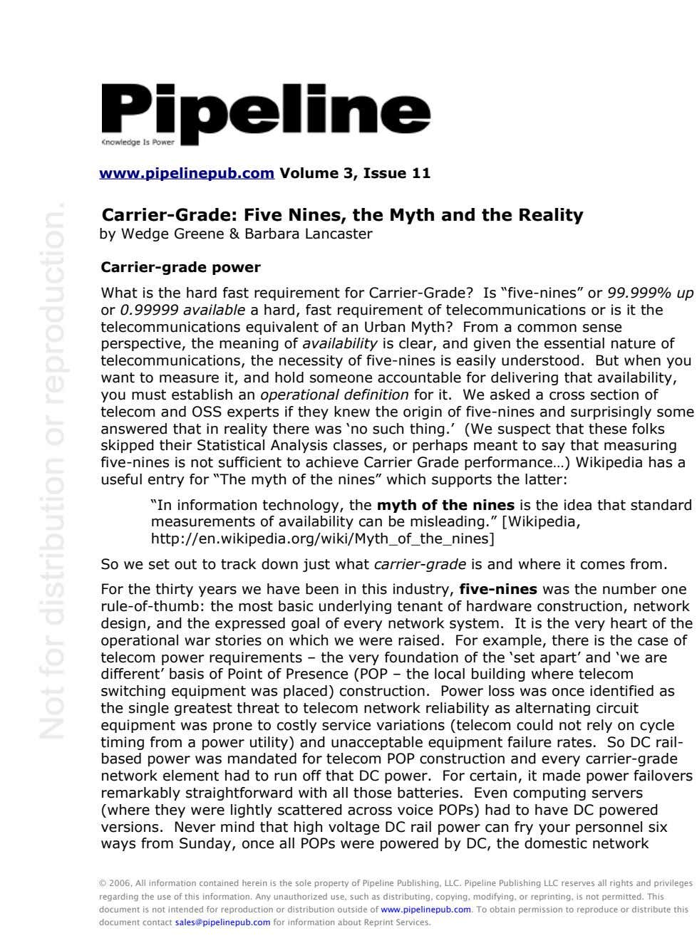 www.pipelinepub.com Volume 3, Issue 11 Carrier-Grade: Five Nines, the Myth and the Reality by Wedge