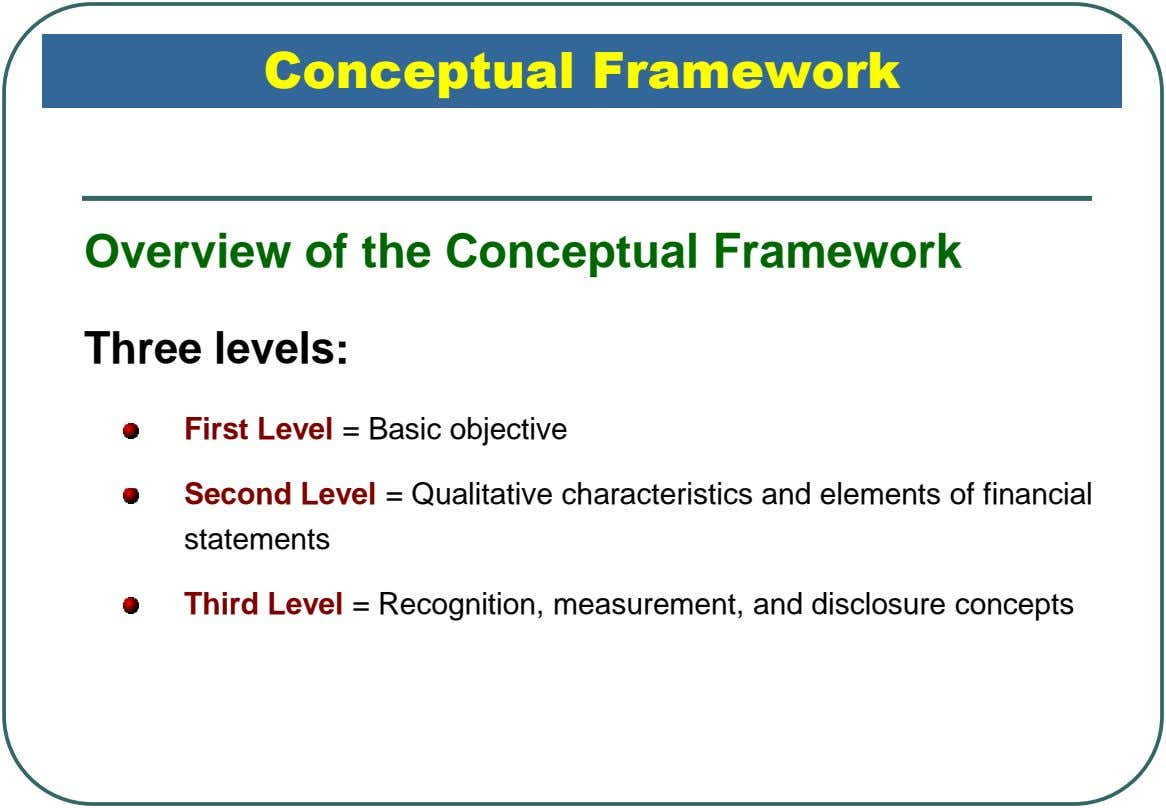 Conceptual Framework Overview of the Conceptual Framework Three levels: First Level = Basic objective Second Level