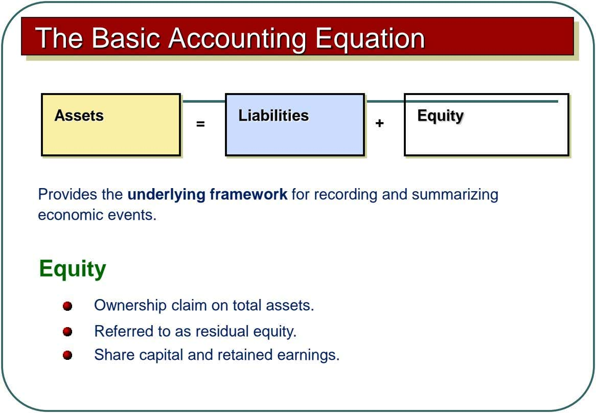 The Basic Accounting Equation Assets Liabilities Equity = + Provides the underlying framework for recording and