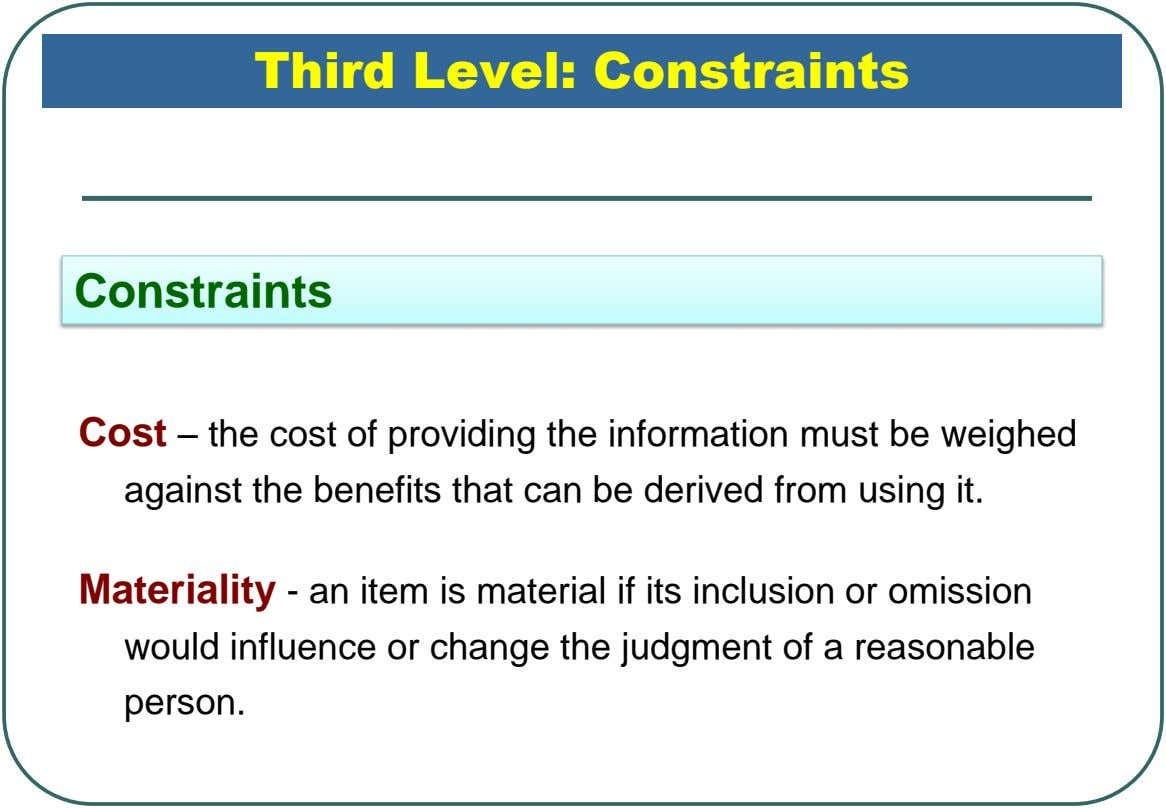 Third Level: Constraints Constraints Cost – the cost of providing the information must be weighed against