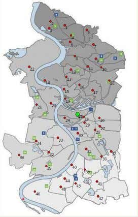 Duisburg with the waste location points and its geography Figure 23: Waste source points in Duisburg