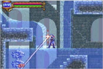 An image of gameplay, with the primary character, Soma Cruz , using a soul to