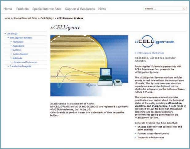 References: Browse a growing body of research publications.  Figure 12: Front page of the xCELLigence