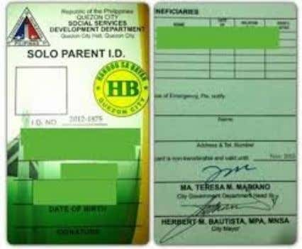 Where can a solo parent get the SOLO PARENT IDENTIFICATION CARD? • May be obtained from