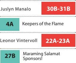 Juslyn Manalo 30B-31B 4A Keepers of the Flame Leonor Vintervoll 22A-23A Maraming Salamat 27B Sponsors!