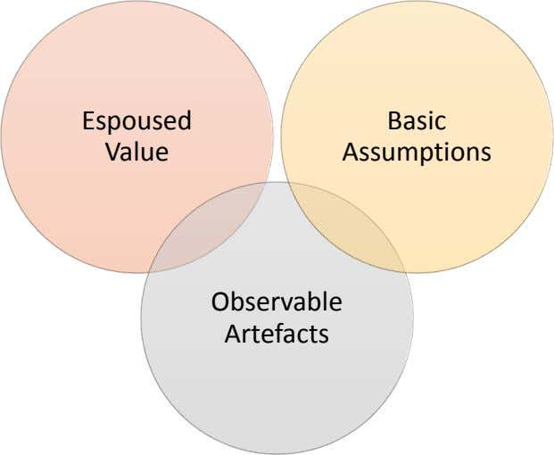 Espoused Basic Value Assumptions Observable Artefacts